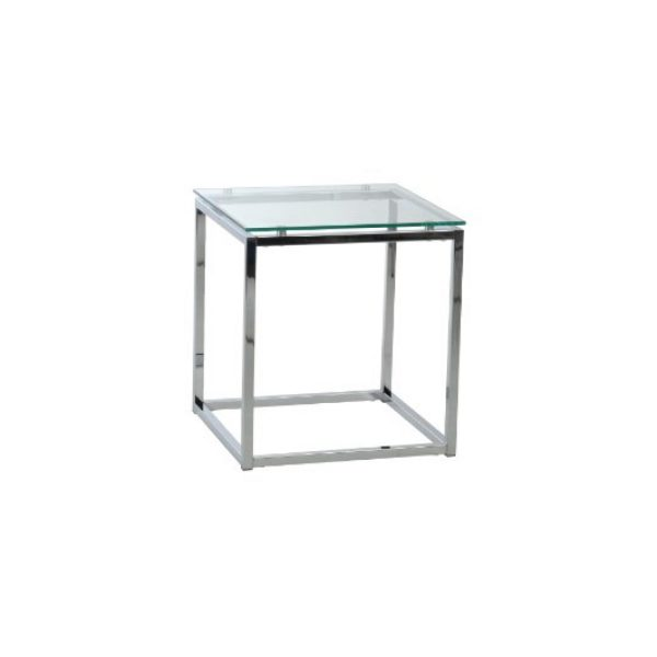 End Table - Square Glass and Chrome